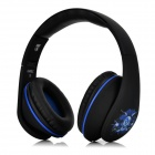 Bingle i680C Fold-up 3.5mm Wired / Wireless Headband Headphone w/ Microphone - Black + Blue