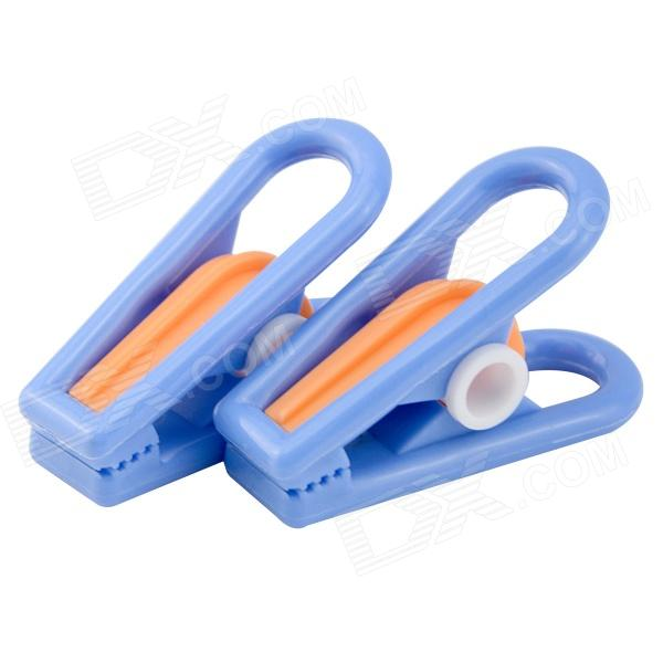 AGW-4023 Flat Head Style PP + Steel Wire Clothespins Laundry Clips - Blue + Orange (10 PCS)