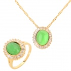 Women's Elegant Pendant Necklace + Ring w/ Zircon Ornament Set - Golden + Green