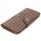 WB-WPBI Men's Casual Split Leather Long Style Wallet - Coffee
