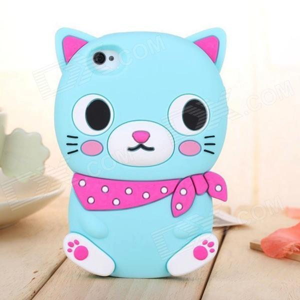 ZIQIAO Cute Cat Shaped Protective Silicone Back Case for IPHONE 5 / 5S - Light Blue + Red cute girl pattern protective rhinestone decoration back case for iphone 5 light pink light blue