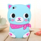 ZIQIAO Cute Cat Shaped Protective Silicone Back Case for IPHONE 5 / 5S - Light Blue + Red
