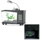 Lileng 920 3W 20lm 3500K 13-LED White USB Mini Fish Tank Aquarium w/ Calendar / Alarm - Black