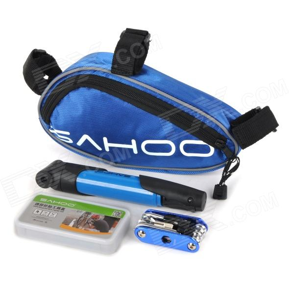 SAHOO 21255 Bike Mounted Bag + Inflator Pump + Tire Repair Toolkit + Multi-Functional Tool Set