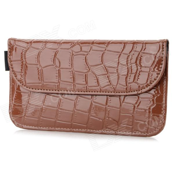 Crocodile Pattern Anti-radiation Signal Shielding Protective PU Bag Case for Mobile Phone - Brown professional high quality 7 pcs makeup brushes set toiletry kit in sleek case portable make up brush set cosmetic tool