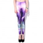 Elonbo Women's Mirage Pattern Digital Painting Tight Leggings - White + Purple + Multi-Color