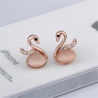 Elegant Swan Shaped Rhinestone Inlaid Stud Earrings - Rose Gold + Transparent (Pair)