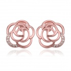 Women's Hollow Out Flower Shaped Gold Plating Stud Earrings - Rose Gold (Pair)