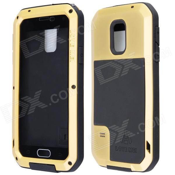 LOVE MEI HW01 Aluminum Alloy + Silicone Back Case w/ Strap for Samsung Galaxy S5 - Golden