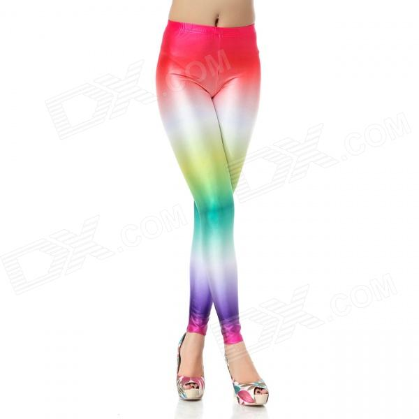 Elonbo Women's Rainbow Style Digital Printing Tight Leggings - White + Purple + Multi-Color elonbo y1c11 women s vertical strip style tight fitting polyester spandex leggings black white