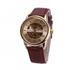 Sewor M108-1 Men's Fashion Skeleton PU Band Auto Mechanical Analog Wrist Watch - Golden + Brown