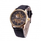Sewor M108-2 Herrenmode Skeleton PU-Band-mechanische analoge Armbanduhr - Golden + Schwarz