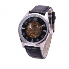 Sewor M107-1 Men's Fashion Skeleton PU Band Auto Mechanical Analog Wrist Watch - Silver + Black