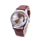 Sewor M105-1 Men's Fashion Skeleton PU Band Auto Mechanical Analog Wrist Watch - Silver + Brown