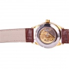 Sewor M106-1 Men's Fashion Skeleton PU Band Auto Mechanical Analog Wrist Watch - Golden + Brown
