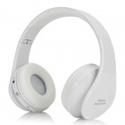 Universal Fold-up Wireless Bluetooth V3.0 Headband Headphone w/ Microphone - White