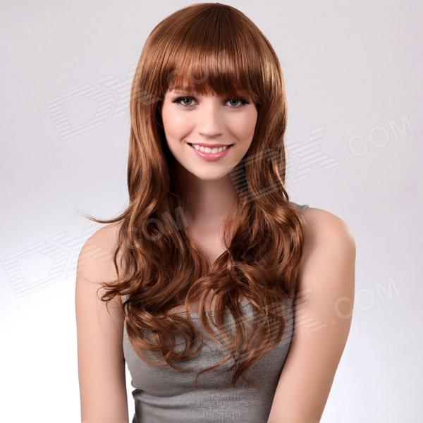 LC036-2730 Cosplay Party Makeup Long Curly Hair Wig - Brown