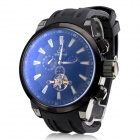 SH-9258 Men's Silicone Band Analog Mechanical Water Resistant Wrist Watch - Black