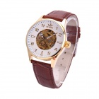 Sewor M106-3 Fashionable PU Band Analog Self-Winding Mechanical Watch for Men - White + Brown