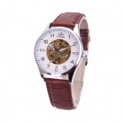 Sewor M107-2 Fashionable PU Band Analog Self-Winding Mechanical Watch for Men - White + Golden
