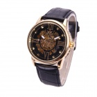 Sewor M102-1 Fashionable PU Band Analog Self-Winding Mechanical Watch for Men - Black + Golden