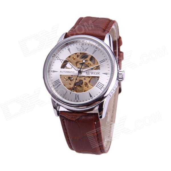Sewor M109-1 Fashionable PU Band Analog Self-Winding Mechanical Watch for Men - Silver + Brown