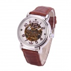 Sewor M115-1 Fashionable PU Band Analog Self-Winding Mechanical Watch for Men - White + Brown + Gold