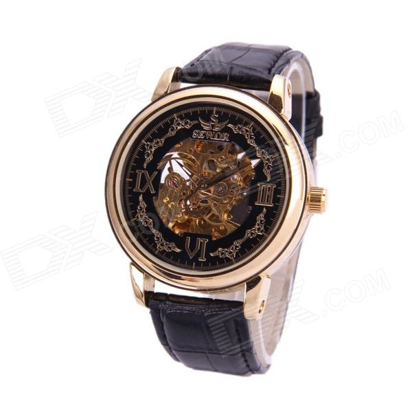 Sewor M119-1 Fashionable PU Band Analog Self-Winding Mechanical Watch for Men - Black + Golden
