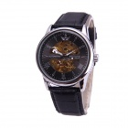 Sewor M109-2 Fashionable PU Band Analog Self-Winding Mechanical Watch for Men - Golden + Black