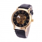 Sewor M112-3 Fashionable PU Band Analog Self-Winding Mechanical Watch for Men - Black + Godlen