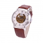 Sewor M113-1 Fashion able PU Band Analog Self-Winding Mechanical Watch for Men - White + Brown