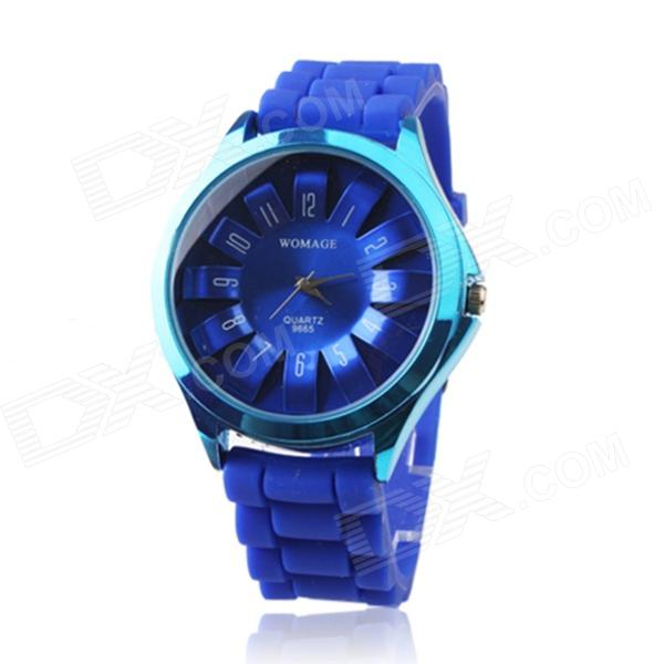 WOMAGE Y43 Fashionable Analog Quartz Wrist Watch w/ Blue Silicone Band - Blue womage chic pencil shaped hour hands style quartz wrist watch with white dial for women hot pink