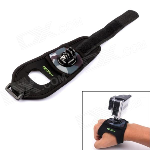 NEOPINE Hand Strap Band for Gopro Hero 4/ 3+ / 3 / 2 / 1 / SJ4000 - Black + Camouflage (L)