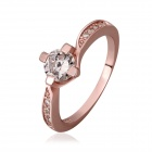 Trendy Simple Style Zircon Stone Inlaid Gold-plated Ring - Rose Gold (US Size 8)