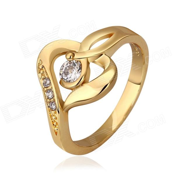Fashion Shining Skeleton Heart Shaped Zircon Inlaid Finger Ring - Rose Gold (US Size 7) r97541w leaf style copper zircon finger ring silver