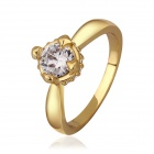 Women's Shining Transparent Zircon Stone Inlaid Ring - Gold (US Size 7)