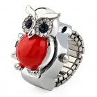 Cute Owl Case Ring Style Analog Quartz Watch - Red + Silver