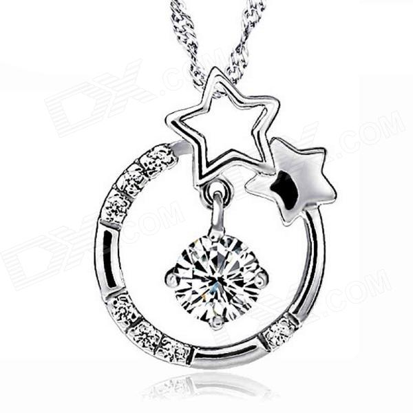 G.ERIMON Fashionable Sweet Star + Rhinestone Necklace Pendant - Silver sweet women s star pendant layered necklace