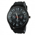 Men's Military Style Black Case Silicone Band Analog Quartz Wrist Watch - Black (1 x 377)
