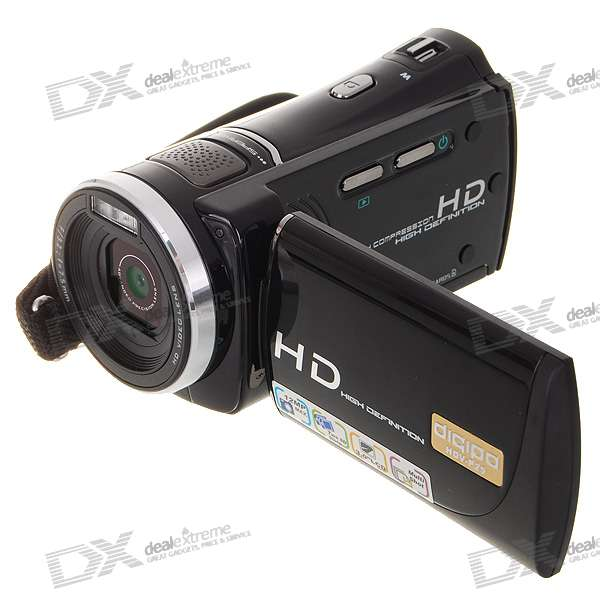 "3"" LCD 5.0MP CMOS Mini HD 720P DV Camcorder with 2 SDHC Slots + AV/HDMI-Out"