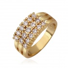 Women's Luxurious Shiny Zircon Stone Inlaid Copper Ring - Gold (US Size 7)