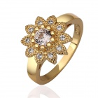 Fashionable Woman's Shining Flower Shaped Zircon Inlaid Ring - Gold (US Size 7)