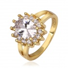 Women's Shining Oval Shaped Transparent Zircon Inlaid Ring - Gold (US Size 7)