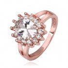 Women's Shining Oval Shaped Transparent Zircon Inlaid Ring - Rose Gold (US Size 7)