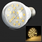 HH46 E27 3W 190lm 3500K 20-SMD 5050 LED Warm White Light Bulb - White + Transparent (AC 220V)