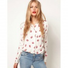 HDY-2866 Women's Red Lip Pattern Long-Sleeved Chiffon Blouse - White + Red (Size L)