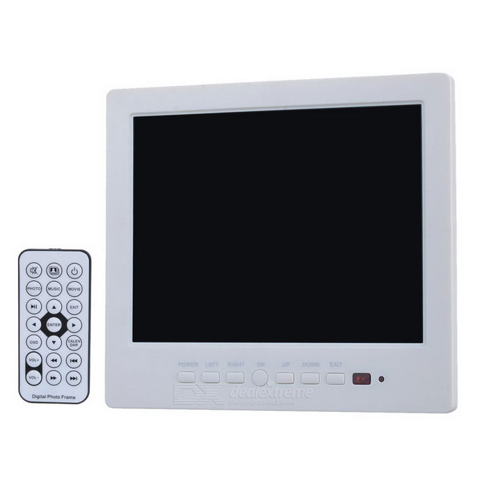 "8 ""Tela HD Car Monitor Displayer w / Remote Controller Interface de + AV / HDMI / USB / SD - Branco"
