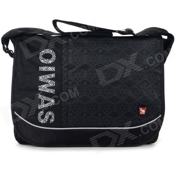 OIWAS Fashion Casual Cover Opening Nylon Messenger Bag - Black