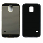 Protective Aluminum Alloy Bumper Frame w/ PC Back Cover for Samsung Galaxy S5 - Black + Champagne