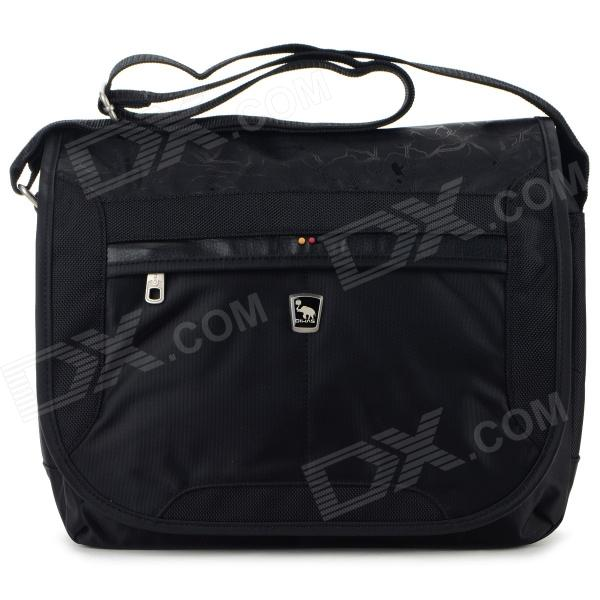 OIWAS Fashionable Polyester Cover Opening Square Messenger Bag - Black